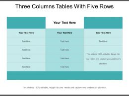 Three Columns Tables With Five Rows