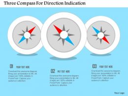 Three Compass For Direction Indication Flat Powerpoint Design