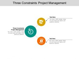 Three Constraints Project Management Ppt Powerpoint Presentation Model Aids Cpb