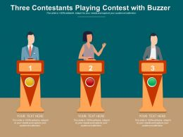 Three Contestants Playing Contest With Buzzer