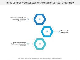 Three Control Process Steps With Hexagon Vertical Linear Flow