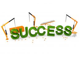 Three Crane And Text Of Success Word Stock Photo