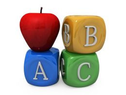 Three Cubes Of Abc Letters With Apple Stock Photo