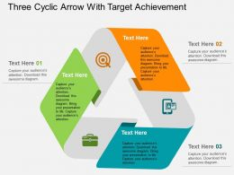 Three Cyclic Arrow With Target Achievement Flat Powerpoint Design