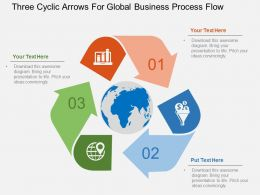 Three Cyclic Arrows For Global Business Process Flow Flat Powerpoint Design