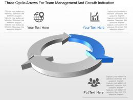 Three Cyclic Arrows For Team Management And Growth Indication Ppt Template Slide