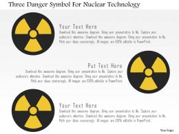 Three Danger Symbol For Nuclear Technology Flat Powerpoint Design