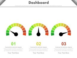 Three Dashboard Charts For Business Data Powerpoint Slides