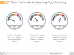 Three Dashboards For Measuring Digital Marketing Ppt Summary