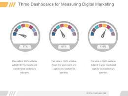 Three Dashboards For Measuring Digital Marketing Ppt Summary