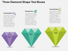 Three Diamond Shape Text Boxes Flat Powerpoint Design