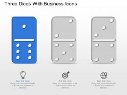 Three Dices With Business Icons Powerpoint Template Slide
