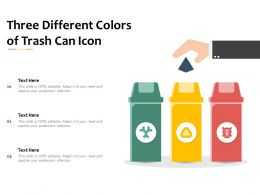 Three Different Colors Of Trash Can Icon