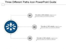 Three Different Paths Icon Powerpoint Guide