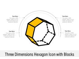 Three Dimensions Hexagon Icon With Blocks