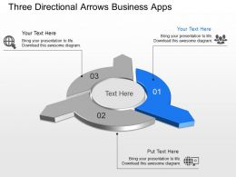 Three Directional Arrows Business Apps Powerpoint Template Slide