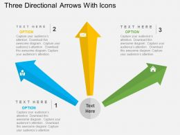Three Directional Arrows With Icons Flat Powerpoint Design