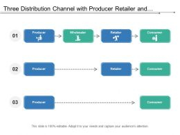 Three Distribution Channel With Producer Retailer And Consumer