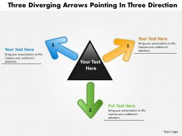 three diverging arrows pointing direction Circular Flow Process PowerPoint templates