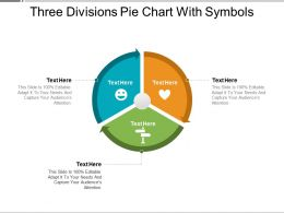 Three Divisions Pie Chart With Symbols