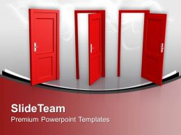 Three Doors To Choose Future Success PowerPoint Templates PPT Themes And Graphics 0213