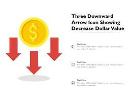 Three Downward Arrow Icon Showing Decrease Dollar Value