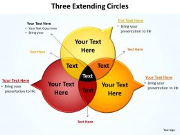 three extending circles shown as venn diagrams with pointers powerpoint diagram templates graphics 712