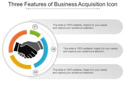 Three Features Of Business Acquisition Icon Ppt Infographic Template
