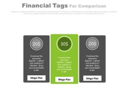 Three Financial Tags For Comparison Powerpoint Slides