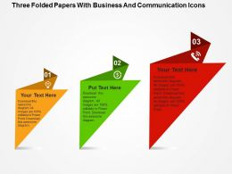 Three Folded Papers With Business And Communication Icons Flat Powerpoint Design
