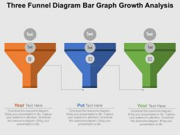 Three Funnel Diagram Bar Graph Growth Analysis Flat Powerpoint Design
