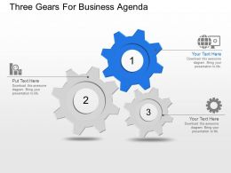 Three Gears For Business Agenda Powerpoint Template Slide