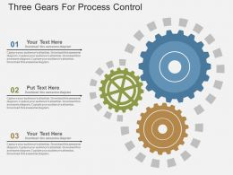 Three Gears For Process Control Flat Powerpoint Design