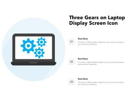 Three Gears On Laptop Display Screen Icon
