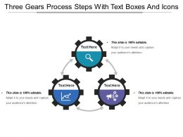 Three Gears Process Steps With Text Boxes And Icons