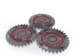 Three Gears Working Together Showing Concept Of Teamwork Stock Photo