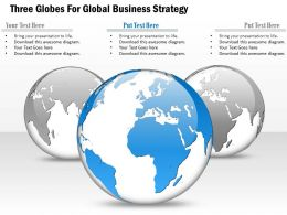 Three Globes For Global Business Strategy Ppt Presentation Slides