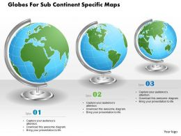 Three Globes For Sub Continent Specific Maps Ppt Presentation Slides