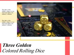 Three Golden Colored Rolling Dice