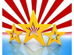 Three Golden Stars On Red And White Background Stock Photo