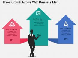 Three Growth Arrows With Business Man Flat Powerpoint Design
