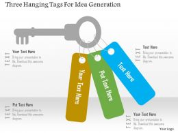 Three Hanging Tags For Idea Generation Flat Powerpoint Design