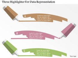 Three Highlighter For Data Representation Flat Powerpoint Design
