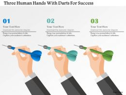 three_human_hands_with_darts_for_success_powerpoint_template_Slide01