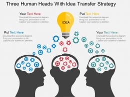 three_human_heads_with_idea_transfer_strategy_flat_powerpoint_design_Slide01