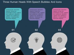 Three Human Heads With Speech Bubbles And Icons Flat Powerpoint Design