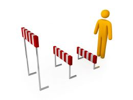 Three Hurdles In Front Of 3D Man Icon Stock Photo
