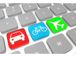 Three Icons Of Travel On Keys Of Keyboard Stock Photo