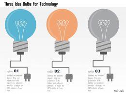 Three Idea Bulbs For Technology Flat Powerpoint Design