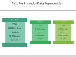 Three Infographic Tags For Financial Data Representation Powerpoint Slides